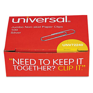 Universal Nonskid Paper Clips Wire Jumbo Silver 100 box 10 Boxes pack