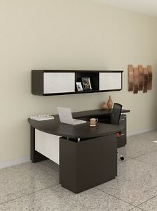 Mayline Sterling Series Textured Mocha Executive L Desk And Hutch