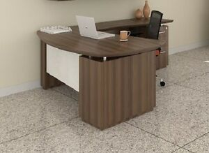 Mayline Sterling Series Stl7 Executive L Desk With Textured Brown Sugar Finish