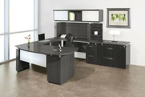Mayline Sterling Collection Modern Executive Furniture Set W Textured Driftwood