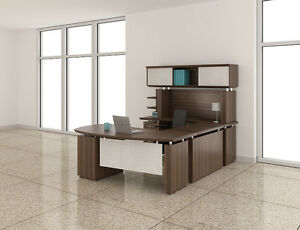 Mayline Sterling Stl3 Brown Sugar Finished U Shaped Executive Station