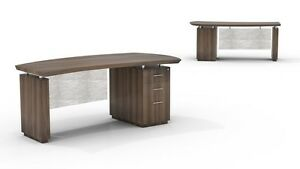 Mayline Sterling Bow Front Desk With Bbf Pedestal In Textured Brown Sugar Finish