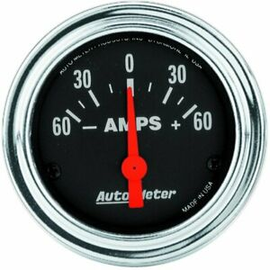 Autometer Traditional Chrome Electrical Ammeter Gauge 2 1 16 Dia Black Face