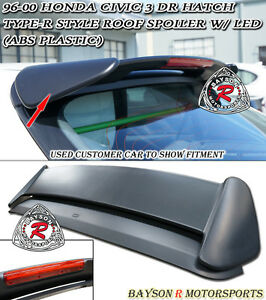 Tr style Rear Roof Spoiler Wing abs 3rd Brake Light Fits 96 00 Civic 3dr