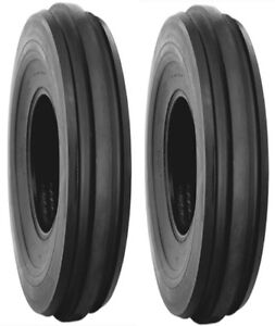 Two 2 4 00 12 4 00x12 Front Tractor Tires F2 3 Rib Fits Farmall Cub Etc