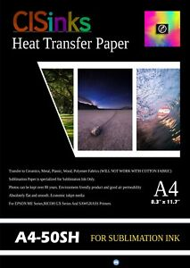 50 Sheets A4 8 27 X 11 7 Sublimation Ink Heat Transfer Paper Inkjet Printer