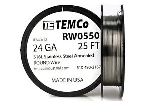 Temco Stainless Steel Wire Ss 316l 24 Gauge 25 Ft Non resistance Awg Ga