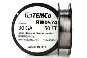 Temco Stainless Steel Wire Ss 316l 30 Gauge 50 Ft Non resistance Awg Ga