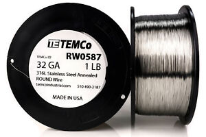 Temco Stainless Steel Wire Ss 316l 32 Gauge 1 Lb Non resistance Awg Ga