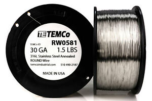 Temco Stainless Steel Wire Ss 316l 30 Gauge 1 5 Lb Non resistance Awg Ga