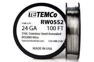 Temco Stainless Steel Wire Ss 316l 24 Gauge 100 Ft Non resistance Awg Ga