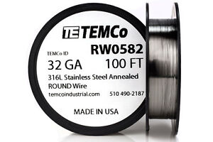 Temco Stainless Steel Wire Ss 316l 32 Gauge 100 Ft Non resistance Awg Ga