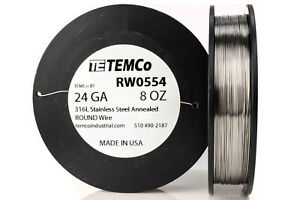 Temco Stainless Steel Wire Ss 316l 24 Gauge 8 Oz Non resistance Awg Ga