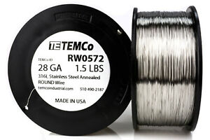 Temco Stainless Steel Wire Ss 316l 28 Gauge 1 5 Lb Non resistance Awg Ga