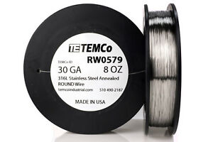 Temco Stainless Steel Wire Ss 316l 30 Gauge 8 Oz Non resistance Awg Ga