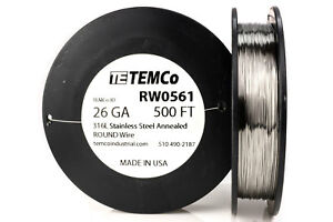 Temco Stainless Steel Wire Ss 316l 26 Gauge 500 Ft Non resistance Awg Ga