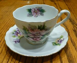 Floral Cup Vintage Royal Sealy China Japan 3 Violet Pink Green Hand Painted
