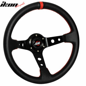 Black Red Deep Dish Pvc Leather 6 Bolt Steering Wheel 350mm Horn Button