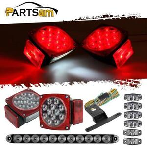 Led Trailer Boat Light Kit stop Turn Tail side Marker brake Light Bar Clear Lens