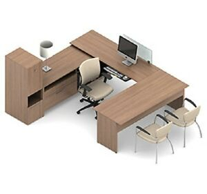 Global A3l U Shaped Desk With Cabinet