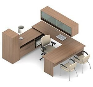 Global A3m U Shaped Desk With Cabinet