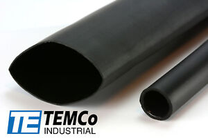 6 Lot Temco 2 Marine Heat Shrink Tube 3 1 Adhesive Glue Lined 4 Ft Black