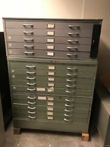 Vintage Architectural Blueprint Flat File Map Art Cabinet 15 Drawers 41x28x56