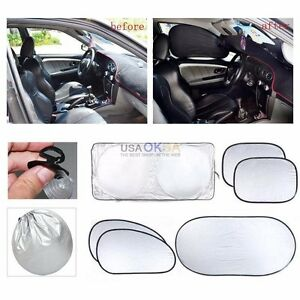 59 X27 6 Car Front Rear Window Sun Shade Visor Protector Windshield Block Cover