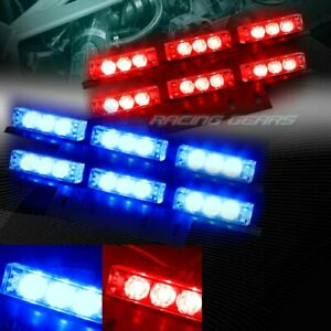 36 Led Red Blue Car Emergency Hazard Warning Flash Strobe Light Universal 5