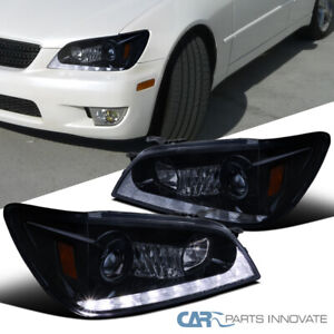 Fit 01 05 Lexus Is300 Glossy Black Led Signal Projector Headlights Pair
