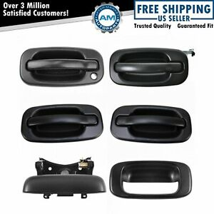 Door Tailgate Handle Textured Black Front Rear Kit Set Of 4 For Chevy Gmc Truck