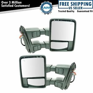 Mirror Power Fold Telescoping Heat Signal Clearance Textured Tow Pair For Ford