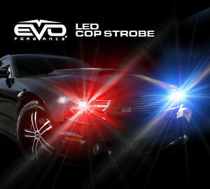 Evo Formance Universal Led Cop Strobe Light Headlight Kit Blue red For Car truck