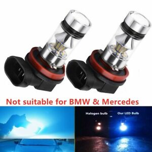 2x H11 H8 100w Led 8000k Ice Blue 2323 Projector Fog Driving Light Bulbs
