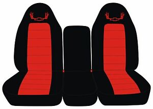 Fits 07 14 Chevrolet And Gmc Trucks 40 20 40 Black Red Antler Seat Covers