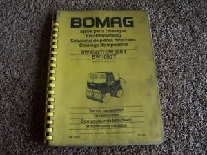 Bomag Bw650t Bw850t Bw1050t Trench Compactor Roller Parts Catalog Manual
