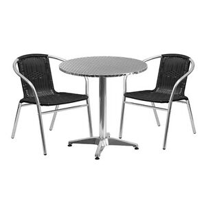 27 5 Round Aluminum Indoor outdoor Table With 2 Black Rattan Chairs