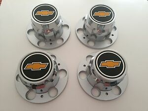 Set 4 68 72 Chevy 6 Lug Truck Rally Wheel Center Caps With 3 7 16 Wide Emblems
