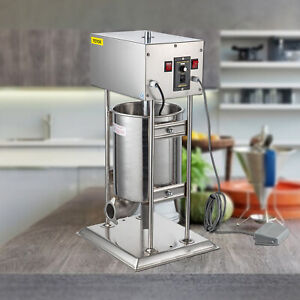 15l 33lbs Electric Sausage Filler Stuffer Vertical Salamil Stainless Steel