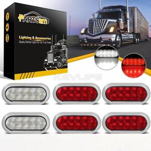 4xred 2xwhite 6 Oval Chrome Rings 10 Led Stop Turn Tail Marker Lights Universal