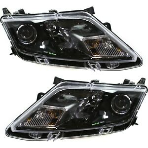 Headlight Set For 2010 2012 Ford Fusion Left And Right Black Housing Capa 2pc