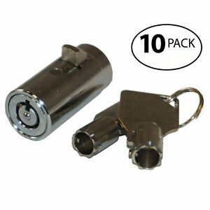 Qty 10 Replacement Plug Locks For Soda Snack Vending Machine New With Keys