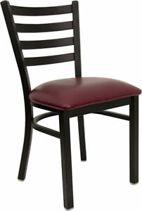 Lot Of 20 Metal Ladder Back Restaurant Chairs With Burgundy Vinyl Seats
