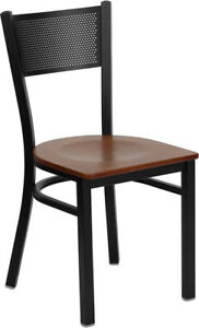 Lot Of 20 Metal Perforated Back Restaurant Chairs With Cherry Wood Seats