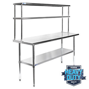 Stainless Steel Commercial Kitchen Prep Table With Double Overshelf 30 X 60