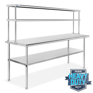 Stainless Steel Commercial Kitchen Prep Table With Double Overshelf 30 X 72