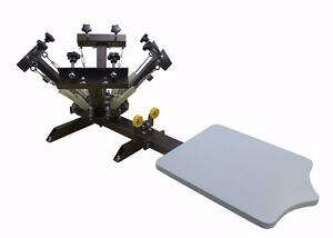 4 Color 1 Station Screen Printing Press Adjustable Printing Head