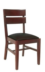 Lot Of 20 Mahogany Finish Ladder Back Wooden Restaurant Chair Black Vinyl Seat