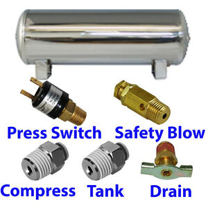 9 Gallon Stainless Air Tank 5 port Train Horn Air Suspension With All Fittings