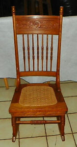 Solid Oak Carved Spindle Back Sewing Rocker Rocking Chair R214